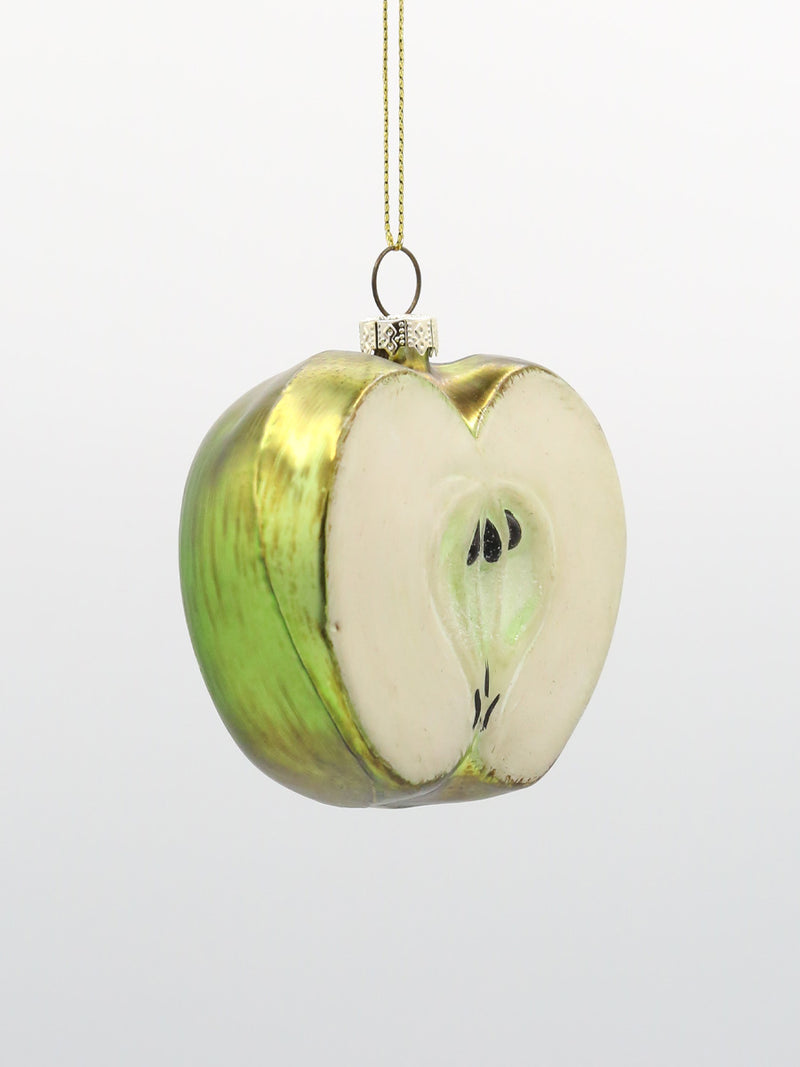 Half Green Apple Ornament 3""