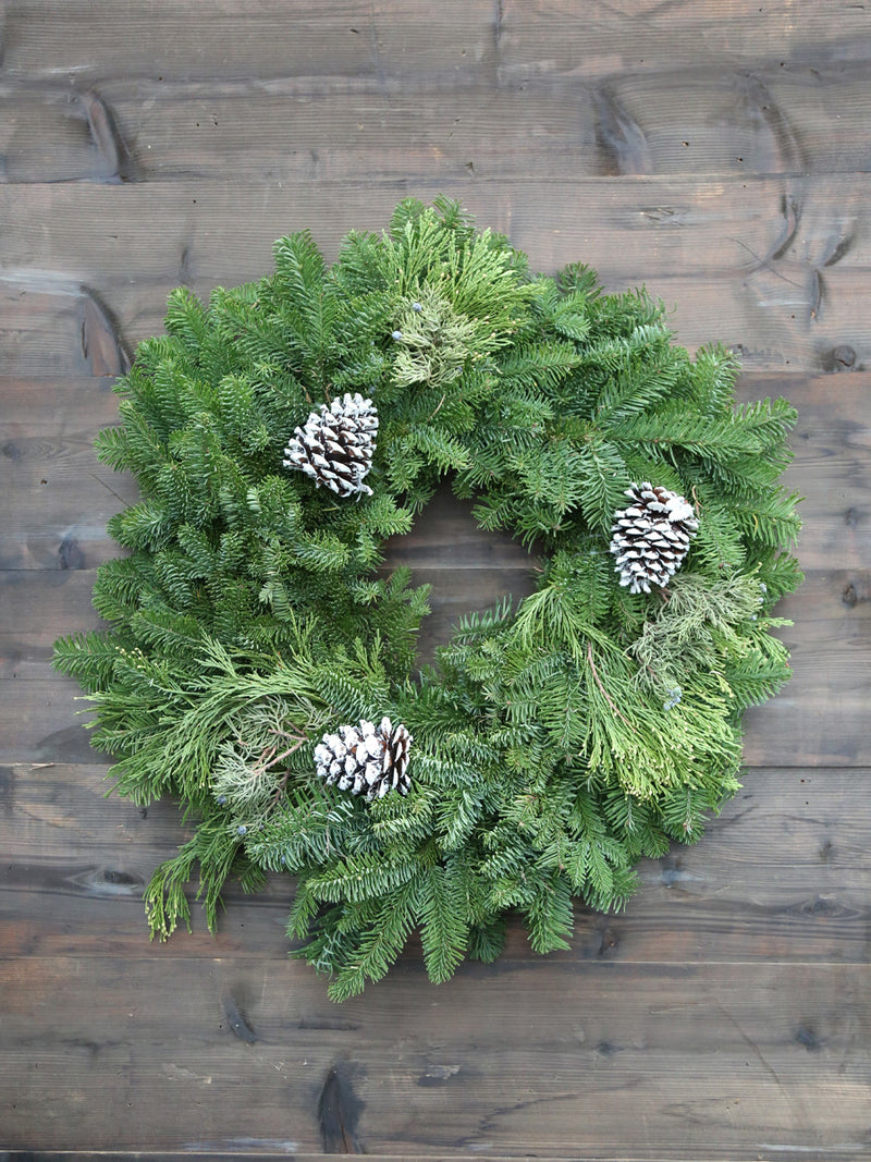 Mixed Winter Noble Wreath 24""