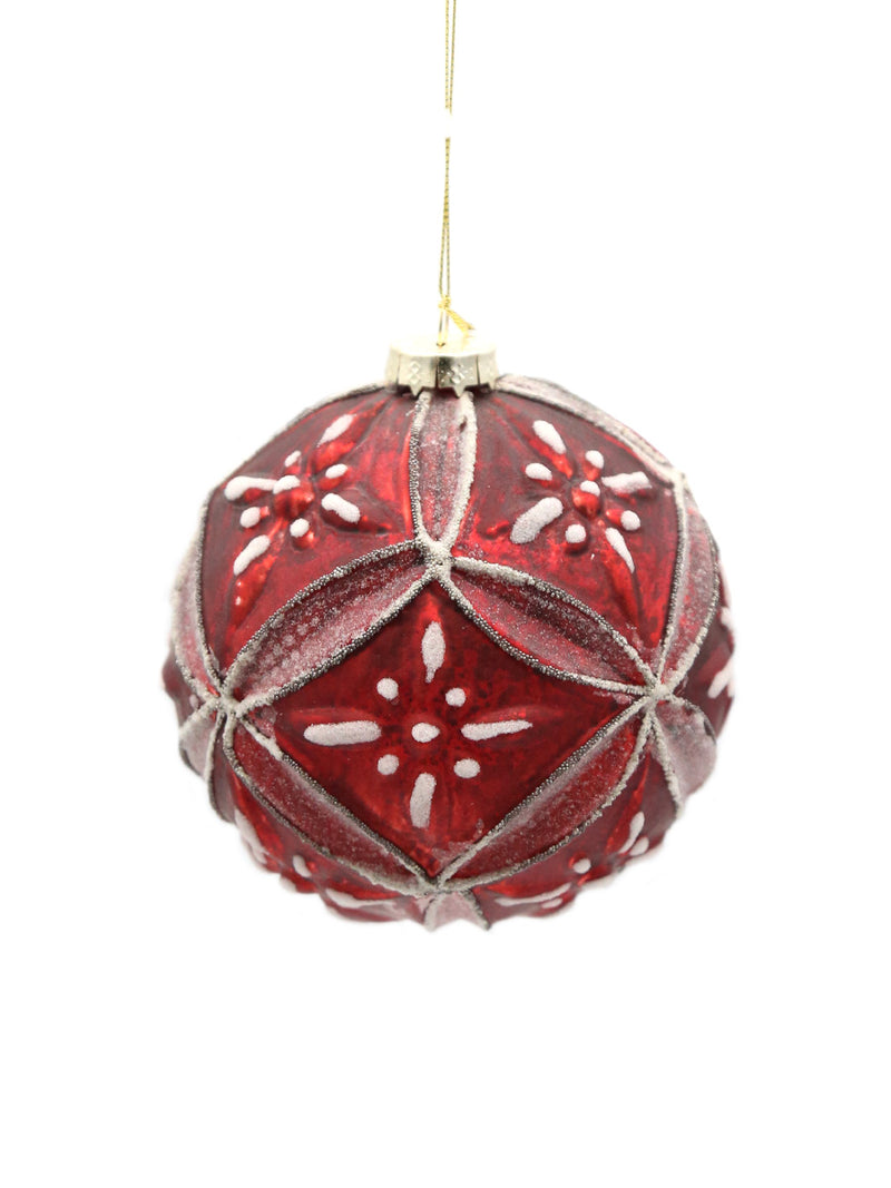 Cranberry Glass Medallion Ball Ornament 5""