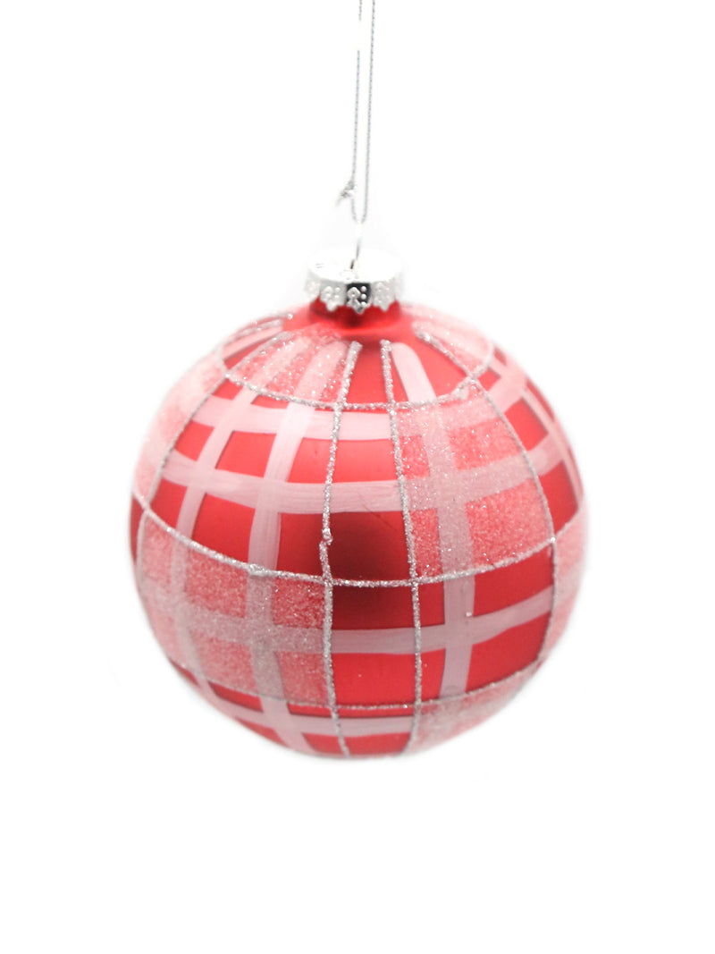Red Silver Plaid Glass Ball Ornament 4""