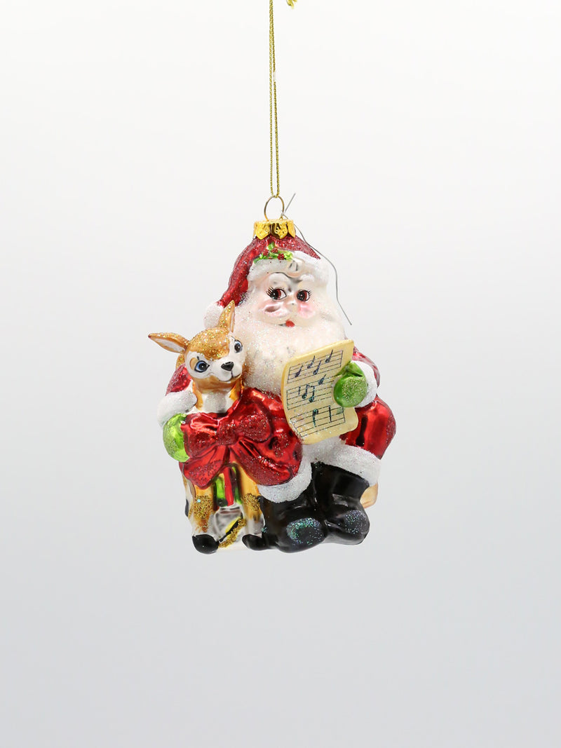 Santa With Deer Glass Ornament
