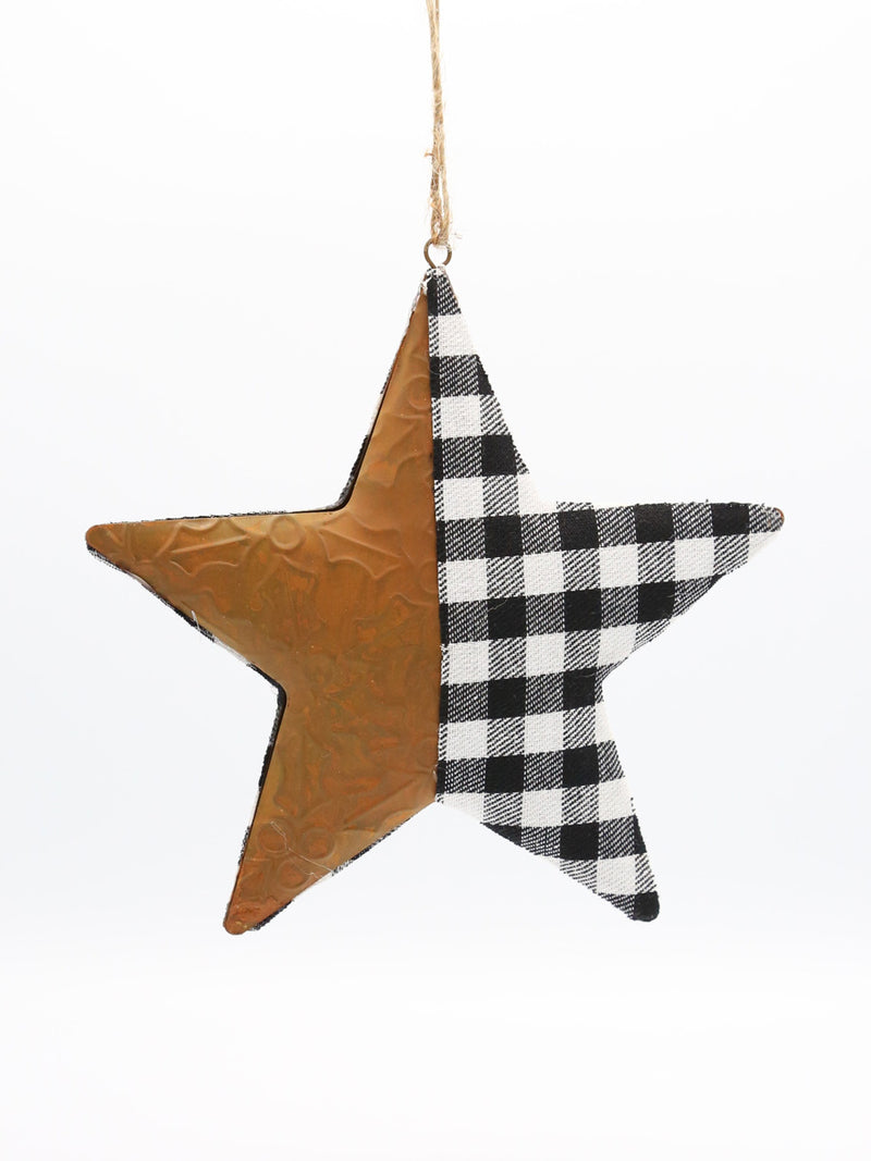 White Black Check Metal Star Ornament