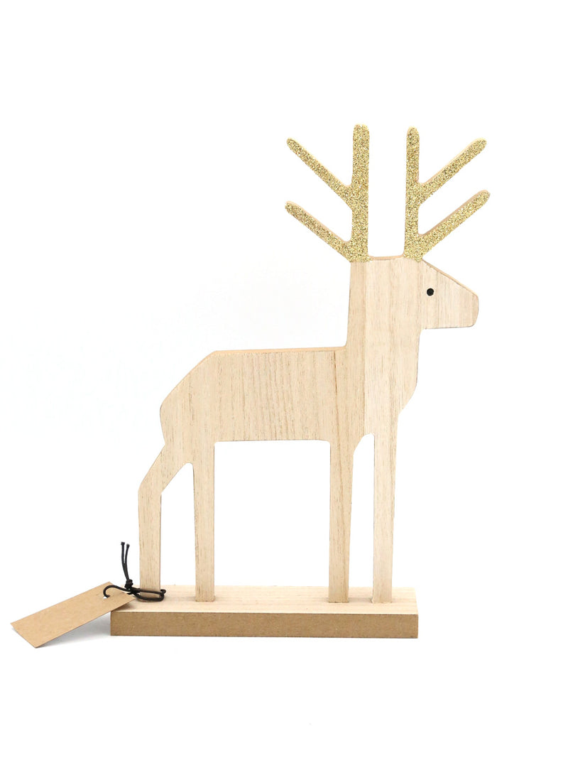 Wood Deer With Gold Antlers 10""