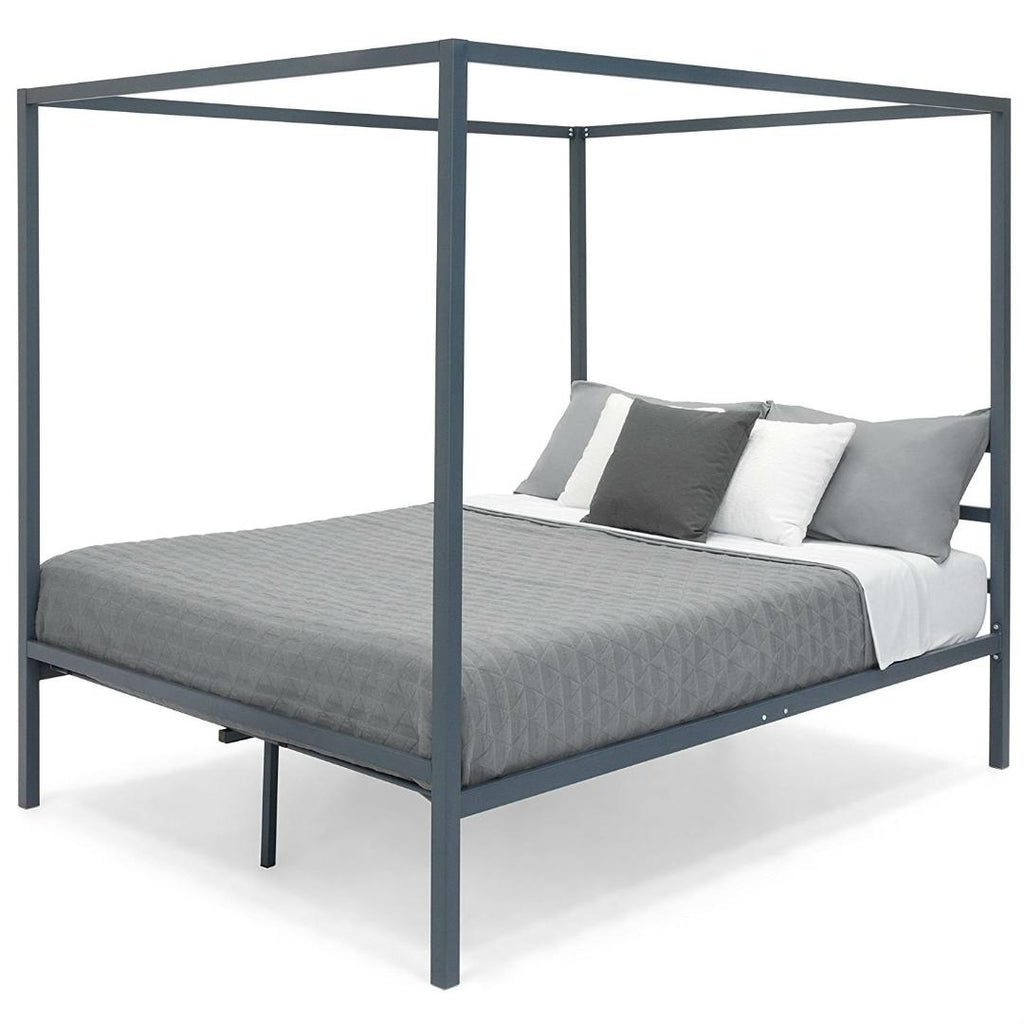 quality design 924a2 4f8b3 Queen size Grey Metal Platform Bed Frame with Canopy