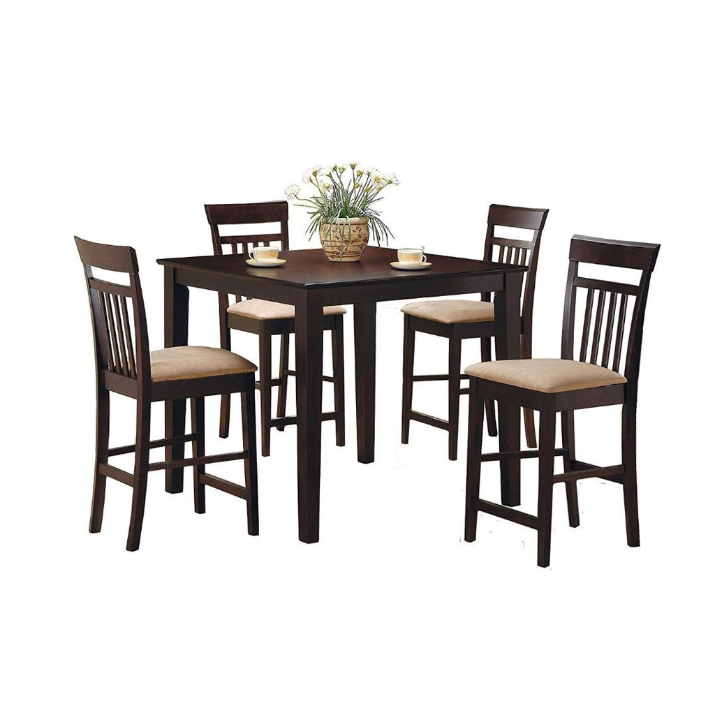 3173283c459e Dark Brown 5-Piece Dining Room Set with 4 Counter Height Barstools. Hover  to zoom