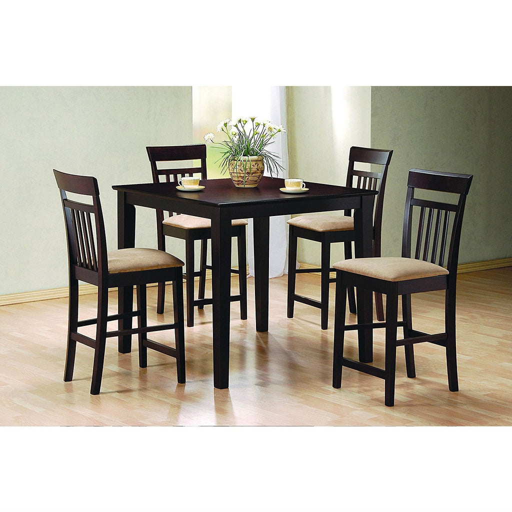 Miraculous Dark Brown 5 Piece Dining Room Set With 4 Counter Height Barstools Download Free Architecture Designs Scobabritishbridgeorg