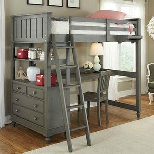 ... Twin Loft With Bed With Desk Chest And Ladder In Stone Wood Finish