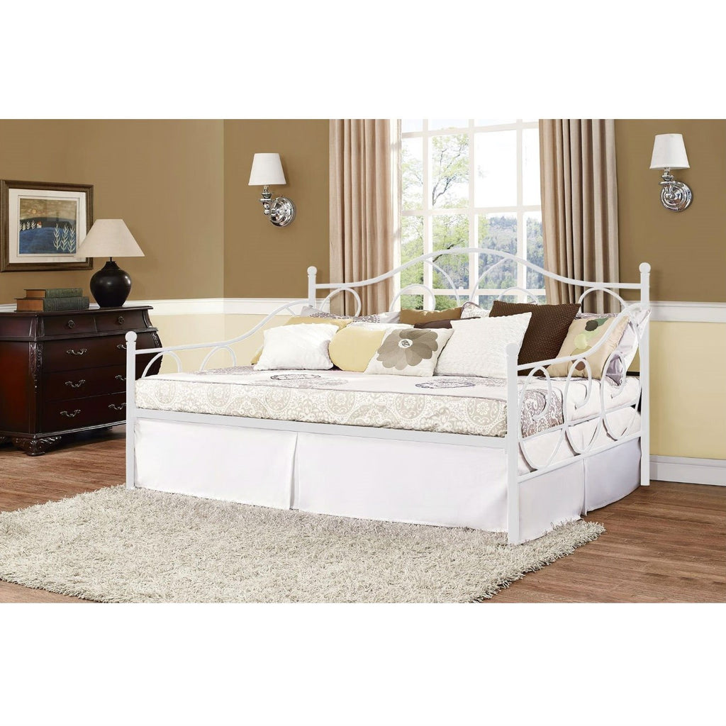 Full Size Daybed In Contemporary White Metal Finish