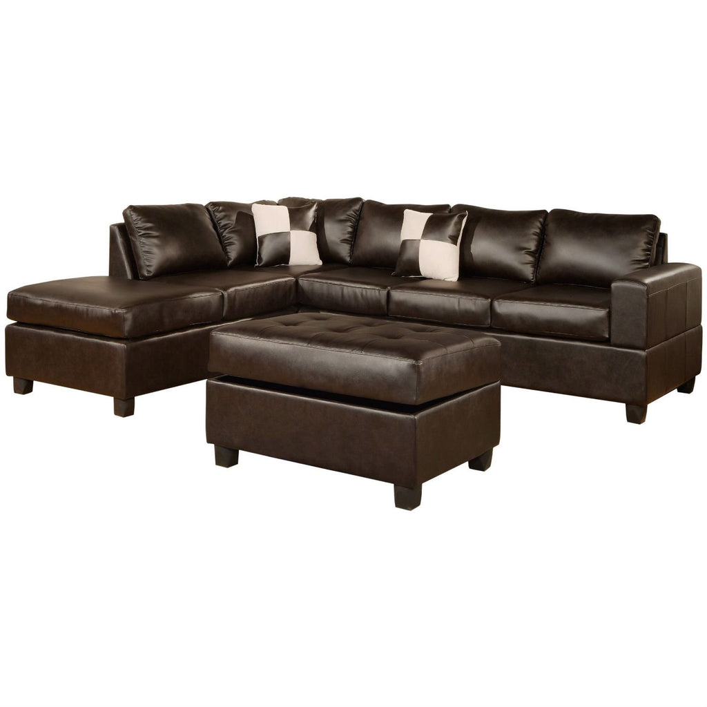 Outstanding Reversible Soft Touch Faux Leather 3 Piece Sectional Sofa Set Pdpeps Interior Chair Design Pdpepsorg