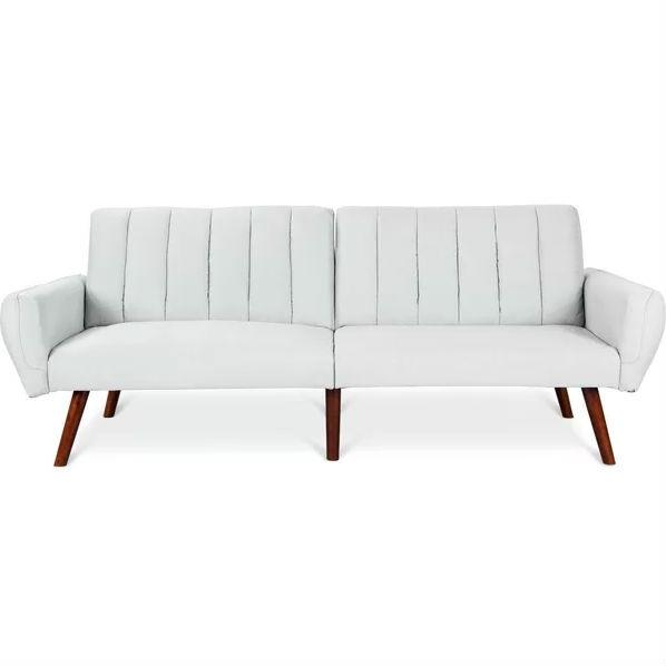 Modern Mid-Modern Mid-Century Classic White Linen Sofa Bed Couch Classic  Blue Linen Sleeper Sofa Bed