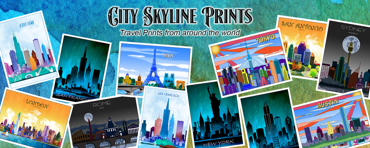 Watercolor Travel Prints, World Countries, City Skylines, U.S. State prints
