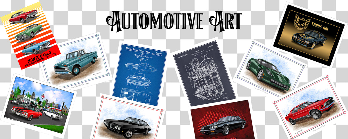 Automotive Art prints from the Muscle Car Era