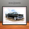 Black and White 1957 Chevrolet BelAir Art Print by Rudy Edwards