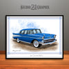 Blue 1957 Chevrolet BelAir Art Print by Rudy Edwards