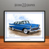 Blue and White 1957 Chevrolet BelAir Art Print by Rudy Edwards