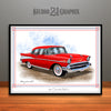 Red 1957 Chevrolet BelAir Art Print by Rudy Edwards