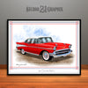 Red and White 1957 Chevrolet BelAir Art Print by Rudy Edwards