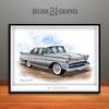 Silver and White 1957 Chevrolet BelAir Art Print by Rudy Edwards