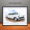 White 1957 Chevrolet BelAir Art Print by Rudy Edwards