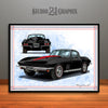 Black 1967 Chevrolet Corvette Muscle Car Art Print by Rudy Edwards