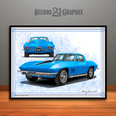 Blue 1967 Chevrolet Corvette Muscle Car Art Print by Rudy Edwards