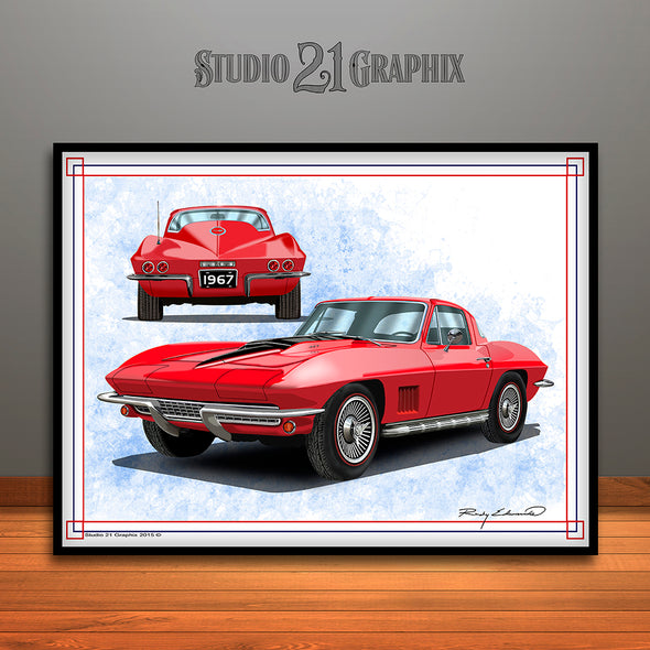 Red 1967 Chevrolet Corvette Muscle Car Art Print by Rudy Edwards
