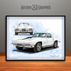 White 1967 Chevrolet Corvette Muscle Car Art Print by Rudy Edwards