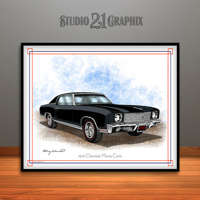 Black 1970 Monte Carlo Muscle Car Art Print By Rudy Edwards