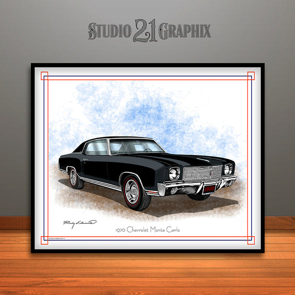 Black and Black 1970 Chevrolet Monte Carlo Muscle Car Art Print by Rudy Edwards