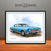 Light Blue 1970 Monte Carlo Muscle Car Art Print By Rudy Edwards