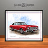 Cranberry and Black 1970 Chevrolet Monte Carlo Muscle Car Art Print by Rudy Edwards