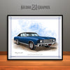 Dark Blue and Black 1970 Chevrolet Monte Carlo Muscle Car Art Print by Rudy Edwards
