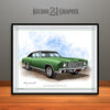 Green and Black 1970 Chevrolet Monte Carlo Muscle Car Art Print by Rudy Edwards