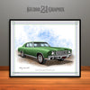 Green 1970 Monte Carlo Muscle Car Art Print By Rudy Edwards