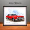 Red and Black 1970 Chevrolet Monte Carlo Muscle Car Art Print by Rudy Edwards
