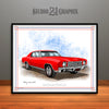 Red 1970 Monte Carlo Muscle Car Art Print By Rudy Edwards
