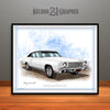 White and Black 1970 Chevrolet Monte Carlo Muscle Car Art Print by Rudy Edwards