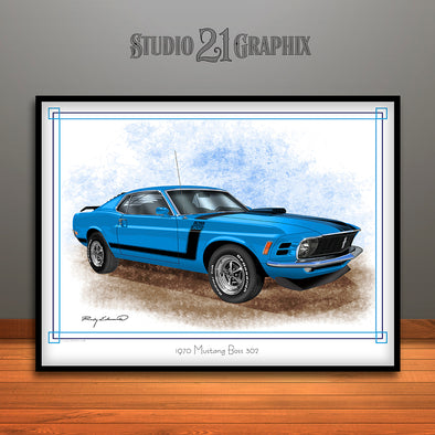 1970 Ford Mustang Boss 302 Muscle Car Art Print, Blue