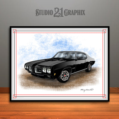 Black 1970 Pontiac GTO Muscle Car Art Print By Rudy Edwards