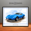 Blue 1976 Chevrolet Corvette Muscle Car Art Print by Rudy Edwards
