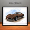 Brown 1976 Chevrolet Corvette Muscle Car Art Print by Rudy Edwards