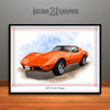 Orange 1976 Chevrolet Corvette Muscle Car Art Print by Rudy Edwards