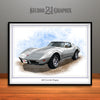 Silver 1976 Chevrolet Corvette Muscle Car Art Print by Rudy Edwards