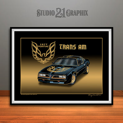 "1977 Pontiac Trans Am Muscle Car Art Print - 16"" X 20"" UNFRAMED"