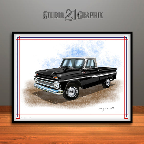 1960's Chevrolet C10 Pickup Truck Art Print, Black