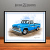 1960's Chevrolet C10 Pickup Truck Art Print, Blue