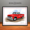 1960's Chevrolet C10 Pickup Truck Art Print, Red