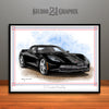 C7 Chevrolet Corvette Muscle Car Art Print, Black
