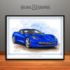 C7 Chevrolet Corvette Muscle Car Art Print, Blue