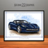 C7 Chevrolet Corvette Muscle Car Art Print, Dark Blue